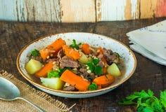 Traditional Irish stew. With lamb, potatoes, carrot and barley Royalty Free Stock Image