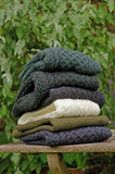 Traditional Irish wool men's winter sweaters Stock Photos