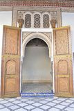 Traditional Islamic door in palace Bahia Marrakesh Royalty Free Stock Image