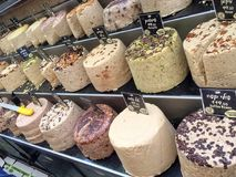 Delicious sweet Halva at a market in Jerusalem. Traditional Israeli sweet halva with different flavors on a market in Jerusalem Stock Images