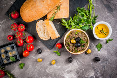 Traditional Italian appetizer tapenade stock image