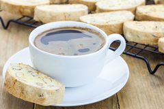 Traditional Italian biscotti with almond and cup of coffee Stock Photography