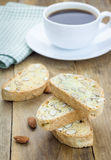 Traditional Italian biscotti with almond and cup of coffee Stock Photo