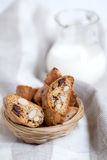 Traditional Italian biscotti cookies with almonds and chocolate Royalty Free Stock Photos