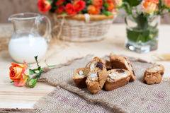 Traditional Italian biscotti cookies with almonds and chocolate, Stock Images