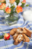 Traditional Italian biscotti cookies with almonds and chocolate, Stock Image
