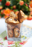 Traditional Italian biscotti cookies with almonds and chocolate, Stock Photos