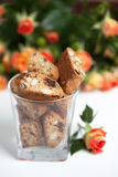 Traditional Italian biscotti cookies with almonds and chocolate Royalty Free Stock Image