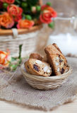 Traditional Italian biscotti cookies with almonds and chocolate Royalty Free Stock Photography