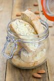 Traditional Italian biscotti in a glass jar Royalty Free Stock Images