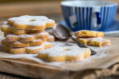 Traditional Italian biscuits and a cup of tea. Royalty Free Stock Photography