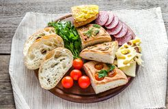 Traditional italian bread with cheese and salami Royalty Free Stock Photography