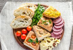 Traditional italian bread with cheese and salami Royalty Free Stock Images