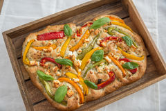 Traditional Italian bread focaccia with pepper and cheese stock image