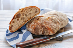Homemade ciabatta with whole grain rye flour for sourdough. Royalty Free Stock Image