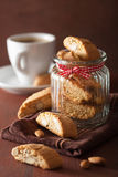 Traditional italian cantuccini cookies and coffee Royalty Free Stock Images