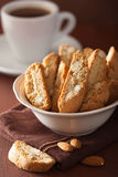 Traditional italian cantuccini cookies and coffee Stock Photography