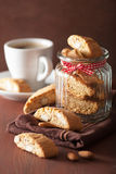 Traditional italian cantuccini cookies and coffee Royalty Free Stock Image