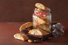 Traditional italian cantuccini cookies in glass jar Royalty Free Stock Photos
