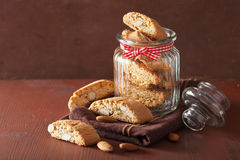 Traditional italian cantuccini cookies in glass jar Stock Image