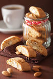 Traditional italian cantuccini cookies in glass jar Stock Images