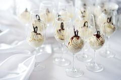 Traditional italian cream cheese dessert served in glasses Stock Photos