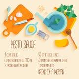 Traditional italian cuisine recipe of pesto souce. royalty free illustration