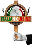 Traditional Italian Cuisine Sign Stock Image