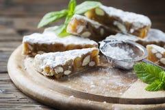 Traditional italian dessert panforte Stock Photos