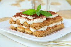 Traditional Italian dessert tiramisu Stock Images