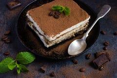 Traditional italian dessert tiramisu on blake plate Stock Image