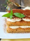 Traditional Italian dessert tiramisu with cocoa Stock Image