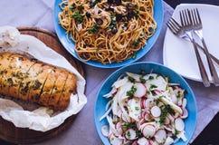 Traditional Italian dinner stock photo