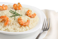 Traditional italian dish - risotto with fried shri Royalty Free Stock Photo