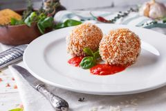 Classical Italian arancini. Traditional Italian dish from Sicilian Stock Image