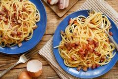 Traditional italian dish spaghetti carbonara. With bacon, egg and cheese royalty free stock photo