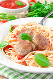 Traditional Italian dish of spaghetti with tomato sauce and meat Stock Images