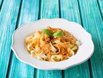 Traditional Italian fettuccine pasta with red Sicilian pesto Royalty Free Stock Image