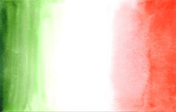Traditional Italian flag in watercolor stile. Hand drawn illustration Stock Photos