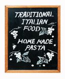 Traditional Italian food. Restaurant chalkboard in Italy (isolated on white stock image