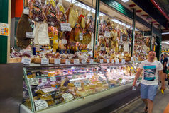 Traditional Italian food market. Florence, Italy - July 12, 2016: Traditional Italian meat, cheese and other products for sale in the food market in Florence stock photos