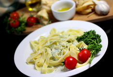 Traditional Italian food tagliatelle with ingredients Stock Photo