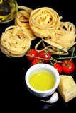 Traditional Italian food tagliatelle with ingredients Royalty Free Stock Photos