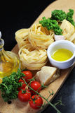 Traditional Italian food tagliatelle with ingredients Royalty Free Stock Photography