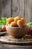 Traditional italian fried balls of mozzarella. Selective focus Stock Photo