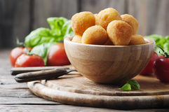 Traditional italian fried balls of mozzarella. Selective focus Stock Image