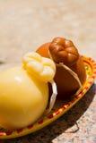 Traditional Italian hard cheese Provolone of Caciocavallo, white Stock Photo