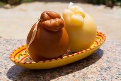 Traditional Italian hard cheese Provolone of Caciocavallo, white Royalty Free Stock Image
