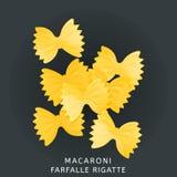 Traditional italian kitchen. Macaroni farfalle rigatte, pasta. Icon isolated on dark background. Vector illustration Royalty Free Stock Photos