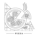 Traditional Italian kitchen mono line logo with pizza Royalty Free Stock Photography